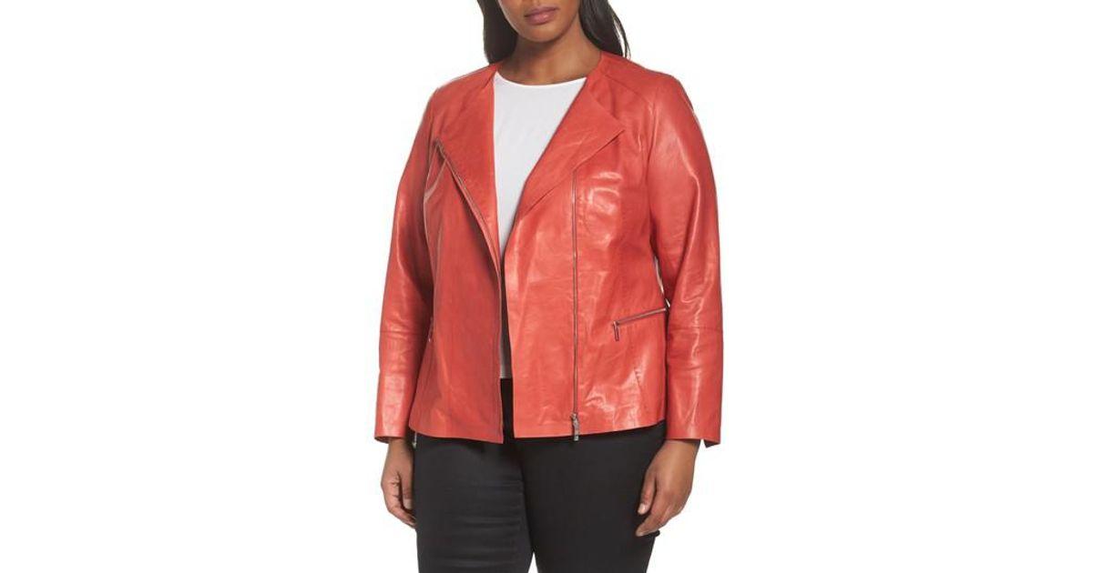 b8621d4a386 Lyst - Lafayette 148 New York Caridee Glazed Lambskin Leather Jacket