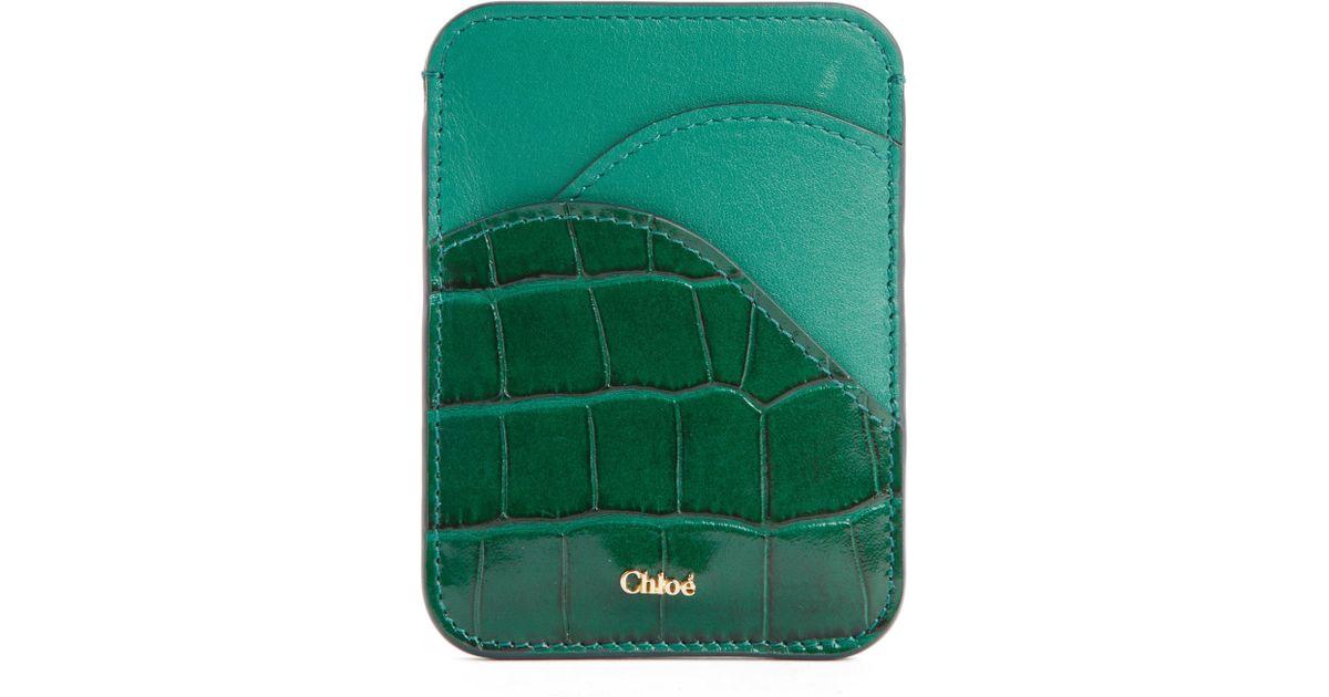 e29cefed Chloé Green Chloé Walden Croc Embossed Leather Card Holder