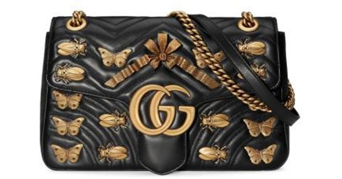 6102ec6bb67 Lyst - Gucci Medium Gg Marmont 2.0 Animal Stud Matelasse Leather Shoulder  Bag in Black