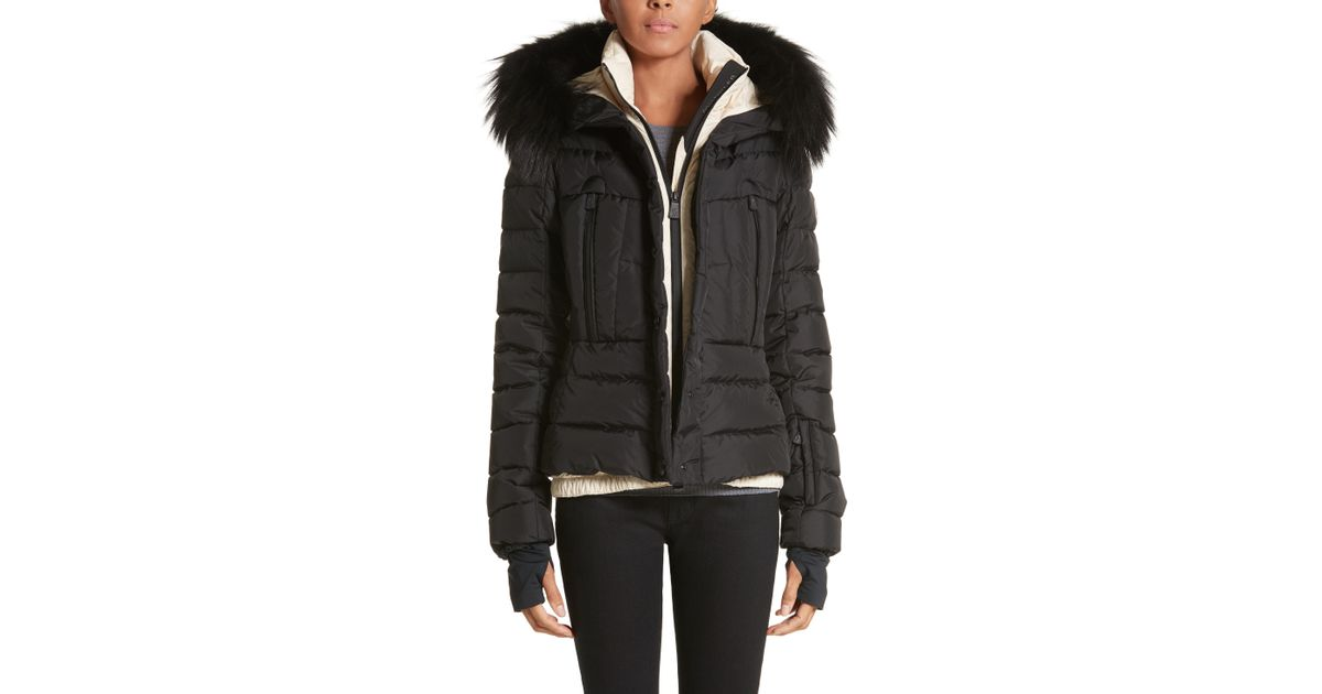 3c932604f Moncler Black Beverley Quilted Down Jacket With Removable Genuine Fox Fur  Trim