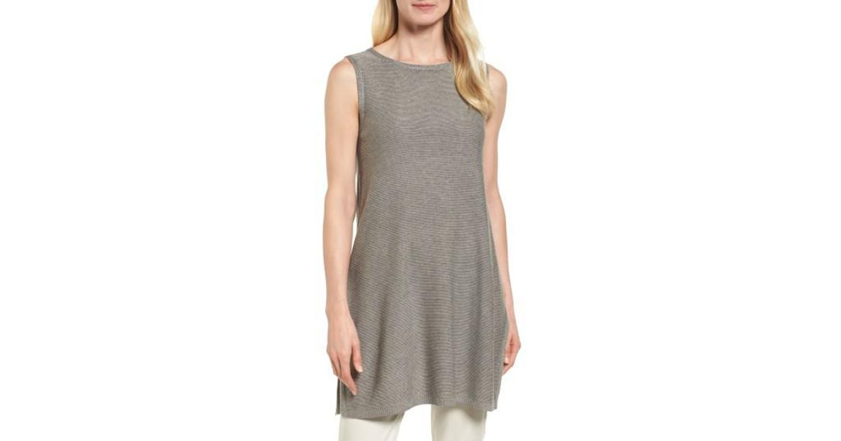 a9358526e3fbe Lyst - Eileen Fisher Tencel   Merino Wool Tunic in Gray