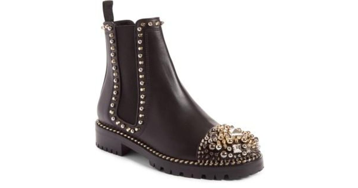 hot sales 0957c e5a1f Christian Louboutin Brown Chasse Stud Chelsea Boot