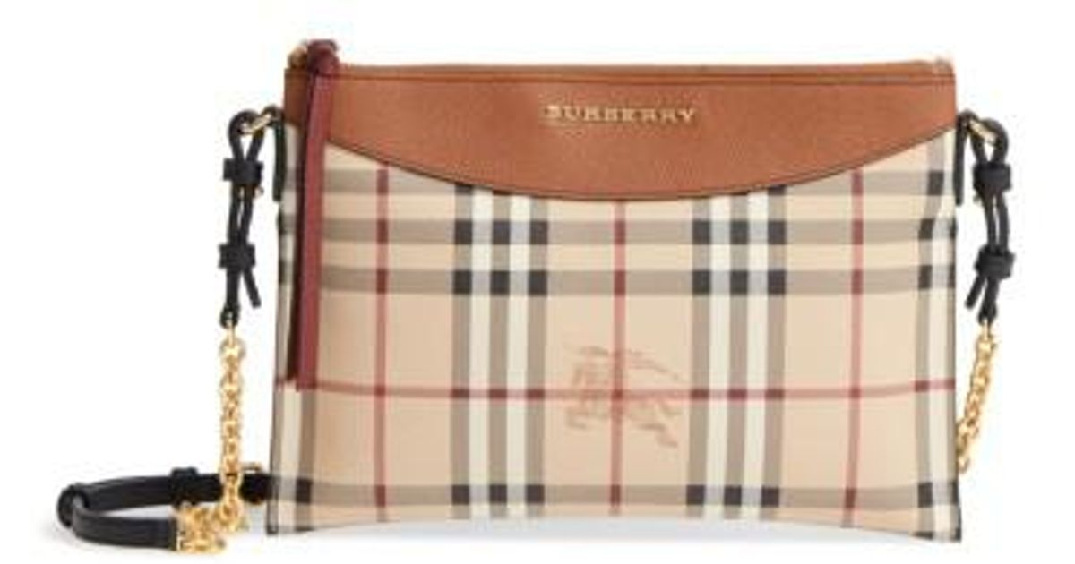 03963dfcc Burberry Peyton - Haymarket Check Coated Canvas Crossbody Bag in Brown -  Lyst