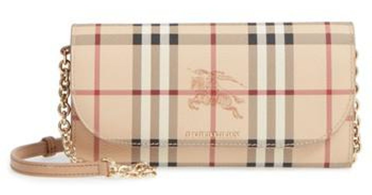 23a7ace198d7 Lyst - Burberry Henley Haymarket Wallet On A Chain in Natural