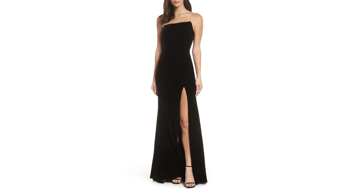 c5d12921e8463 Xscape Strapless Velvet Gown in Black - Lyst