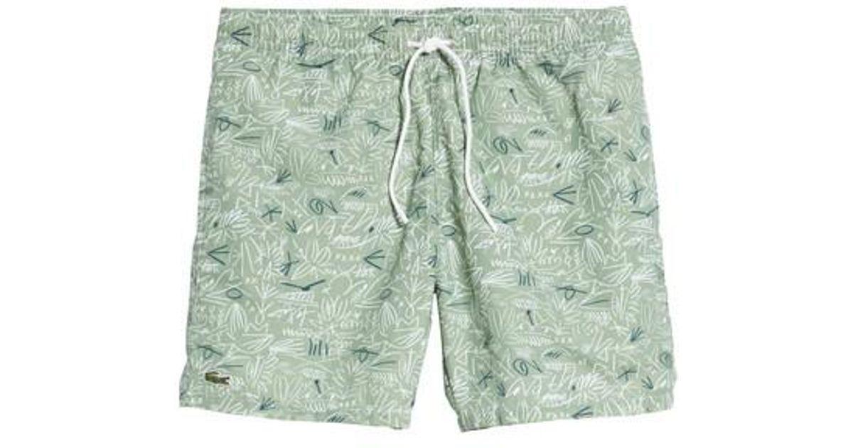 58e79e626dc Lyst - Lacoste Flowing Print Swim Trunks in Green for Men