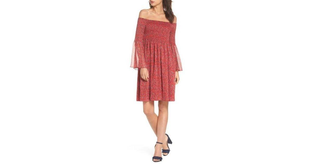 0e531879d9d Lyst - Sam Edelman Off The Shoulder Babydoll Dress in Red