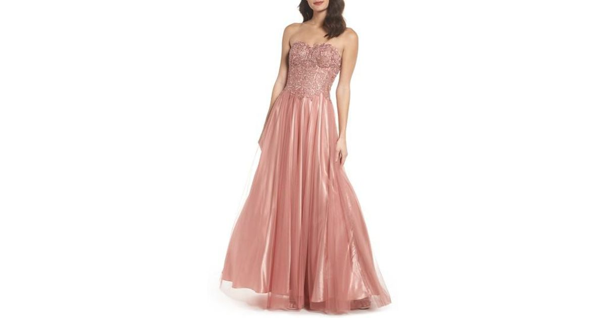 68412e0532c Lyst - Blondie Nites Embellished Corset Ballgown in Pink