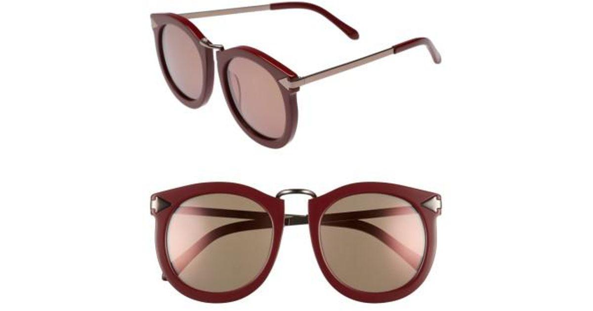 95d8491c8bb1 Lyst - Karen Walker Super Lunar 53mm Round Sunglasses - Burgundy in Brown