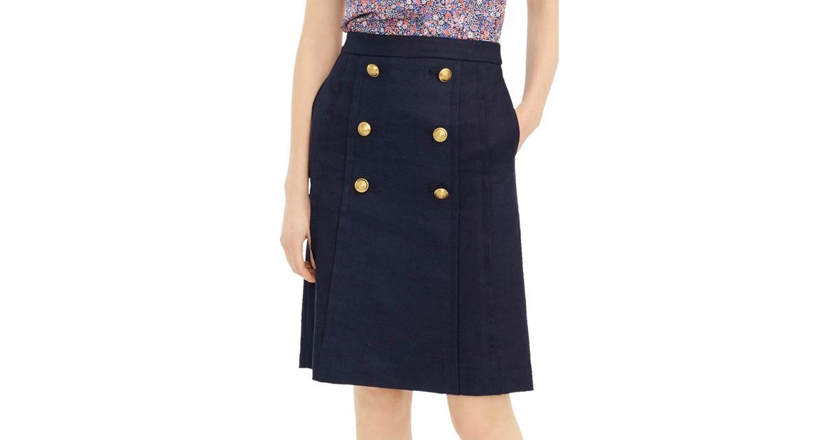 74b631493 J.Crew Pleat Front Stretch Linen Blend Sailor Skirt in Blue - Lyst