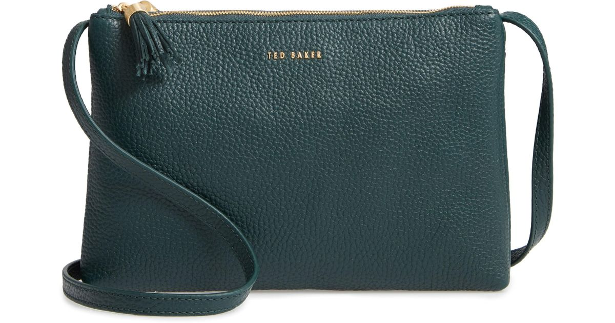 47bff9ad73a Ted Baker Maceyy Double Zip Leather Crossbody Bag in Green - Lyst