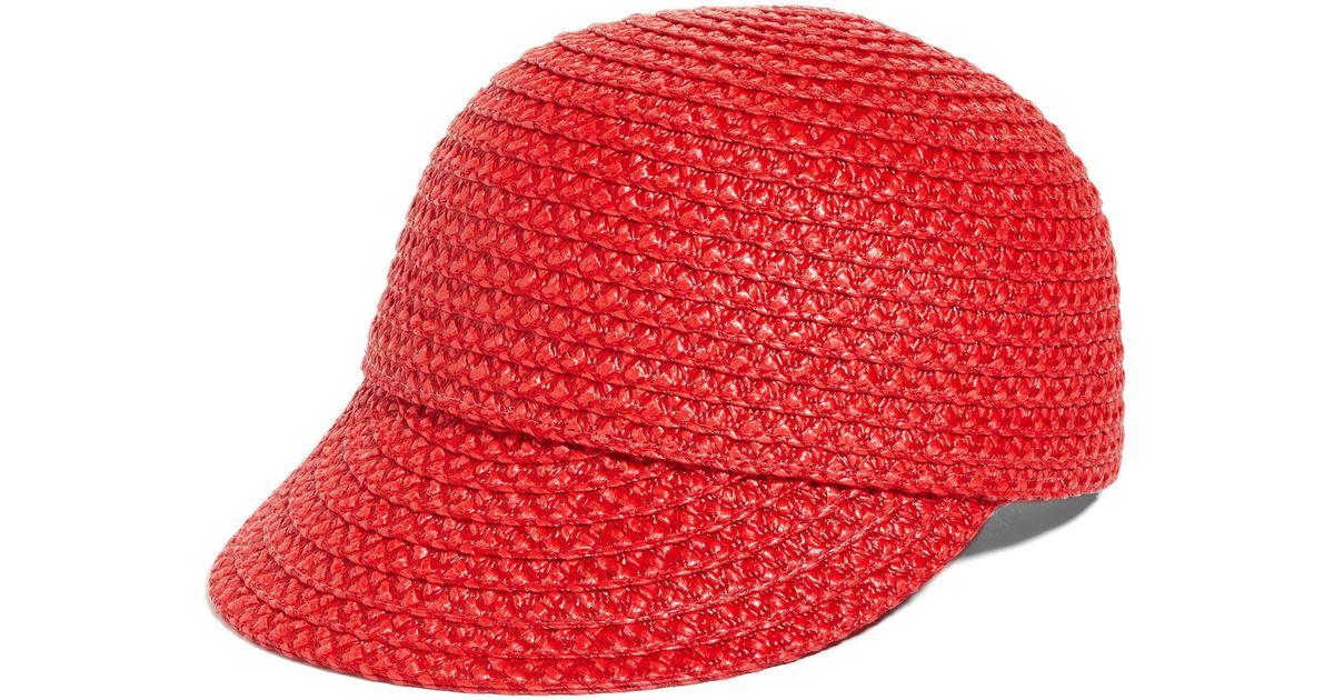 ba91122a7c4 Lyst - Eric Javits Mondo Woven Cap in Red