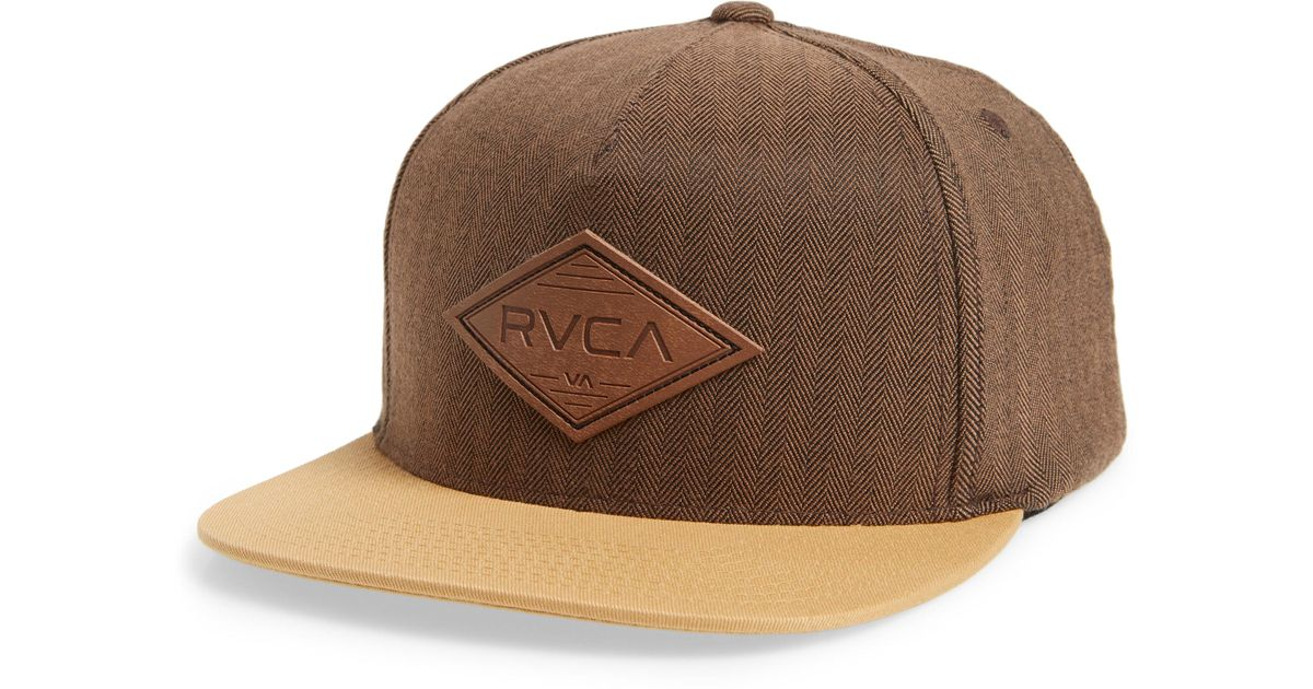 fe8b2f54032 ... reduced lyst rvca woods logo trucker hat in brown for men b609a ace54