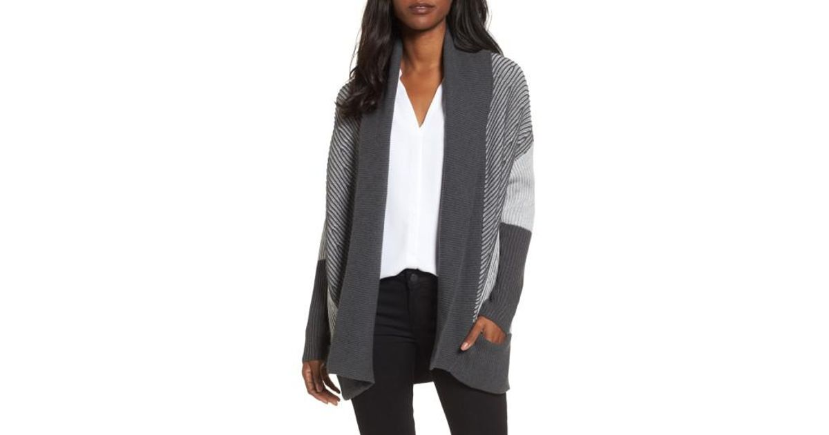69f91304572 Lyst - Chaus Colorblock Open Front Cardigan in Gray