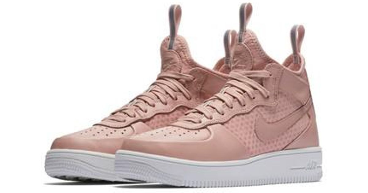 detailed images in stock hot product Nike Pink Air Force 1 Ultraforce Mid Sneaker