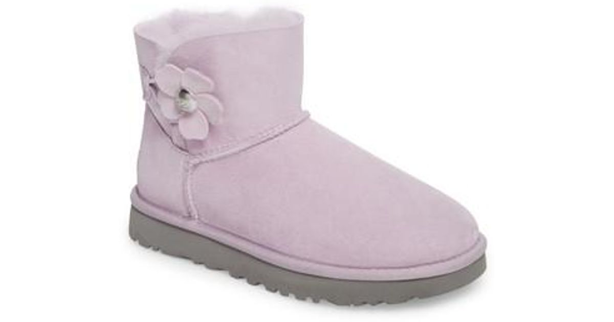 d27127772d Lyst - UGG Ugg Mini Bailey Button Poppy Genuine Shearling Lined Boot in  Purple