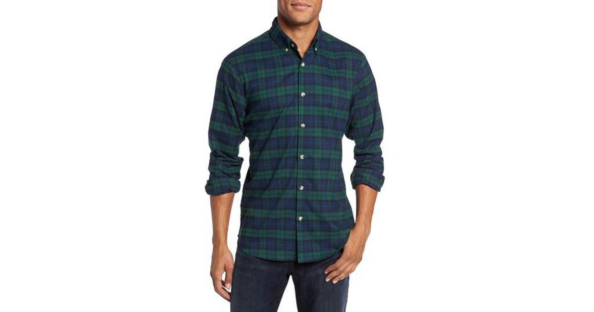 Mizzen main durham slim fit black watch flannel sport for Black watch flannel shirt