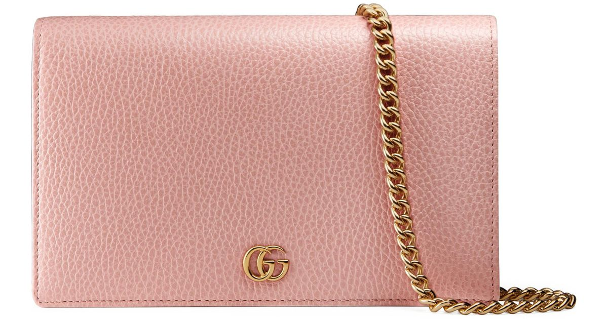 c96d22421e913b Lyst - Gucci Marmont Leather Wallet On A Chain in Pink
