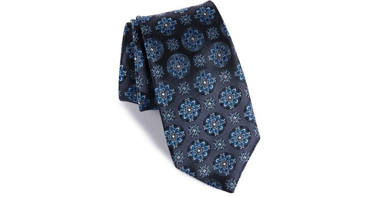 8dbeb5fd70 ... best price lyst boss boss medallion silk tie in blue for men 41a72  98d40 cheapest hugo ...