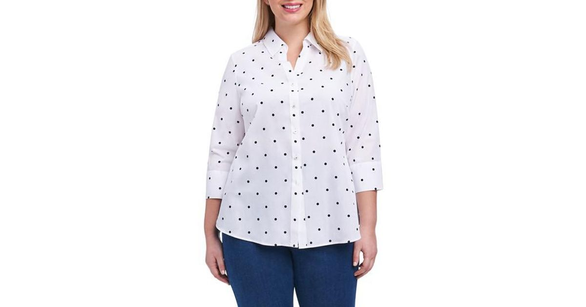 6ef5484cde653 Lyst - Foxcroft Mary Dot Print Shirt (plus Size) in White