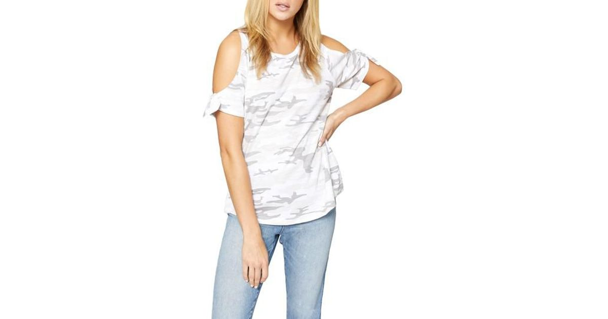 7bcdae1ae34428 Lyst - Sanctuary Camouflage Cold Shoulder Lou Lou Tee in White