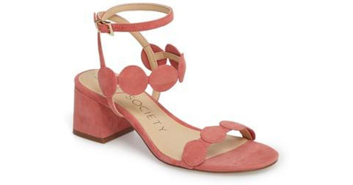 0f8eef40805f Lyst - Sole Society Shea Block Heel Sandal in Pink