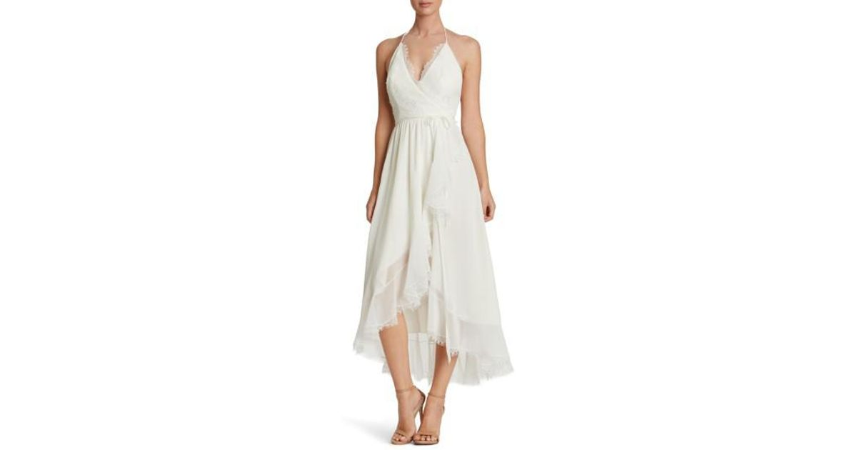 d442492496d5 Lyst - Dress the Population Gia Backless Chiffon Wrap Dress in White