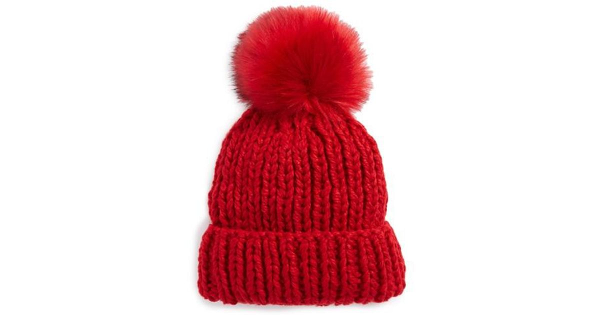 Lyst - Free People Happy Trails Faux Fur Pom Beanie in Red b3cdcc43490