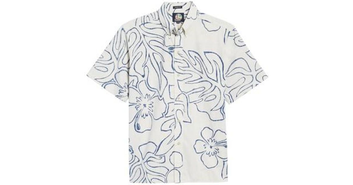 018628665 Lyst - Reyn Spooner Monstera Ink Classic Fit Sport Shirt in Natural for Men