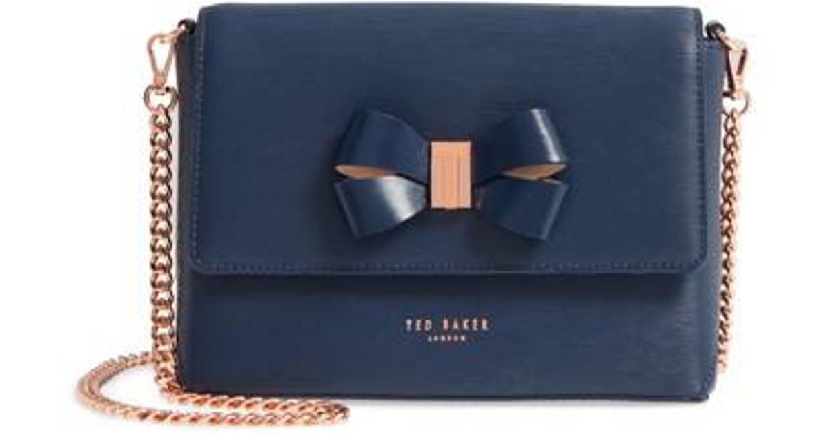 58210ccf652ef Lyst - Ted Baker Bowii Bow Mini Bark Leather Crossbody Bag in Blue