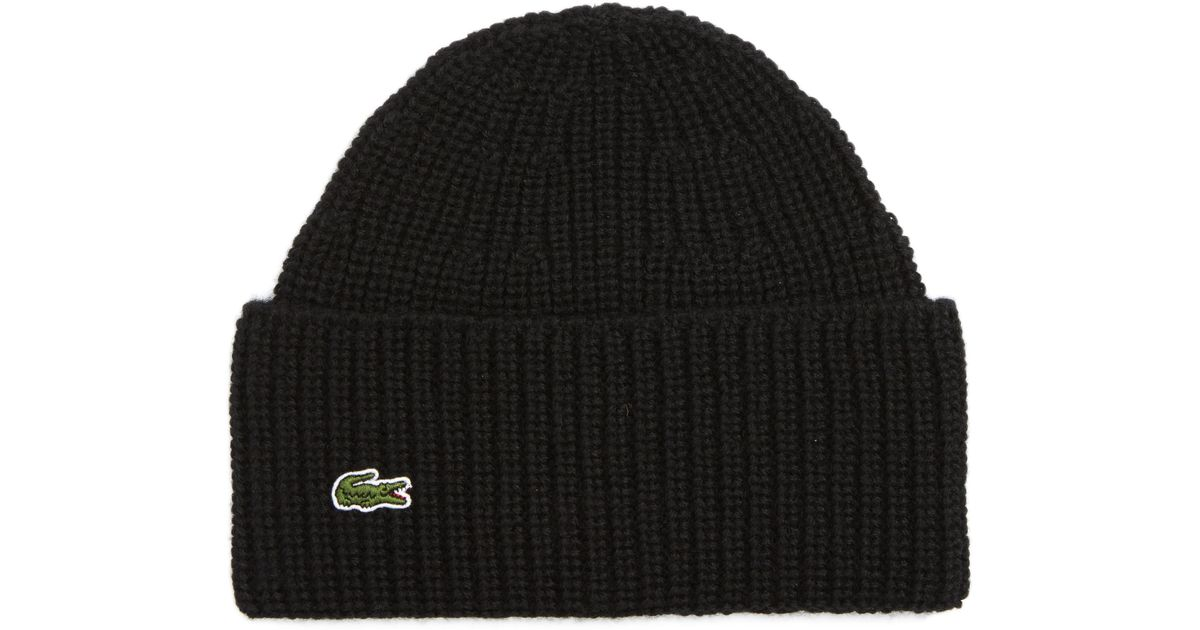 38406811cd5c2 Lacoste Turned Edge Ribbed Wool Beanie in Black for Men - Lyst