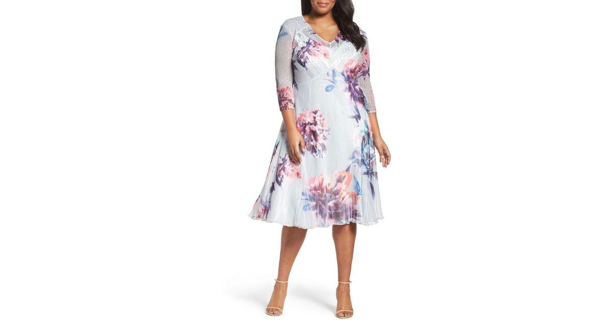 6fedbfa0eea Lyst - Komarov Floral Chiffon   Charmeuse A-line Dress