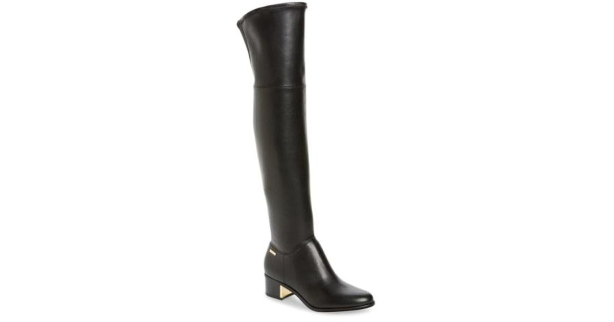 e562e94bdc0 Lyst - CALVIN KLEIN 205W39NYC Carli Water Resistant Over The Knee Boot in  Black