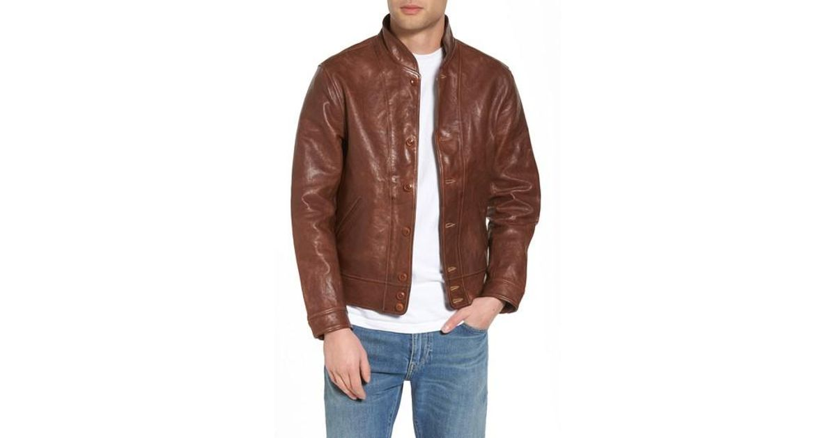 Levi S Levi S Vintage Clothing Menlo Cossack Leather Jacket In Golden Brown Brown For Men Lyst