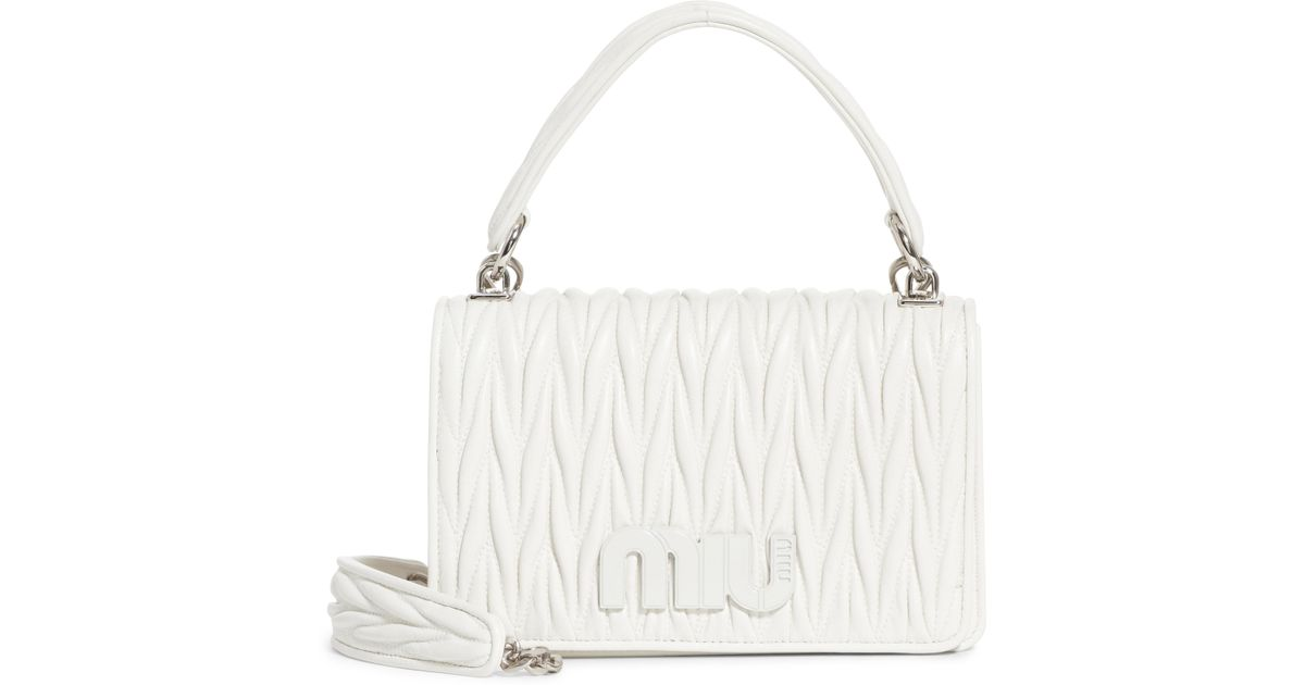 Lyst - Miu Miu Matelasse Quilted Lambskin Leather Top Handle Bag in White 6a829144f8be1