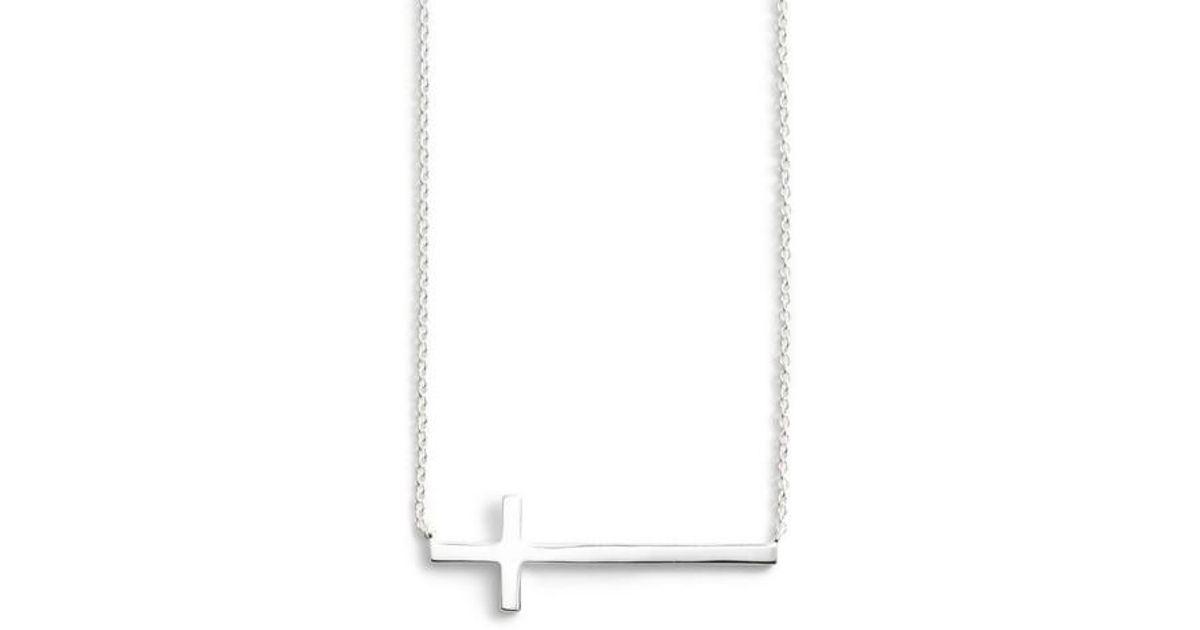 Lyst argento vivo modern sideways cross pendant necklace in metallic aloadofball Gallery