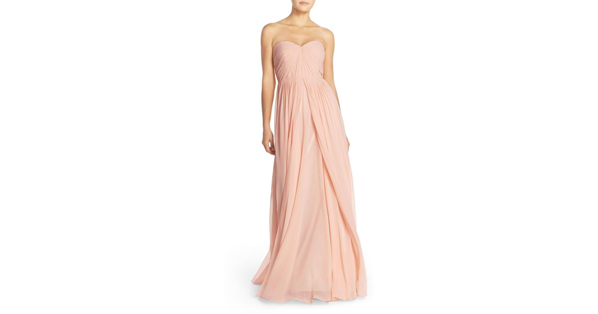 48afef020334 Jenny Yoo Mira Convertible Strapless Chiffon Gown in Pink - Lyst