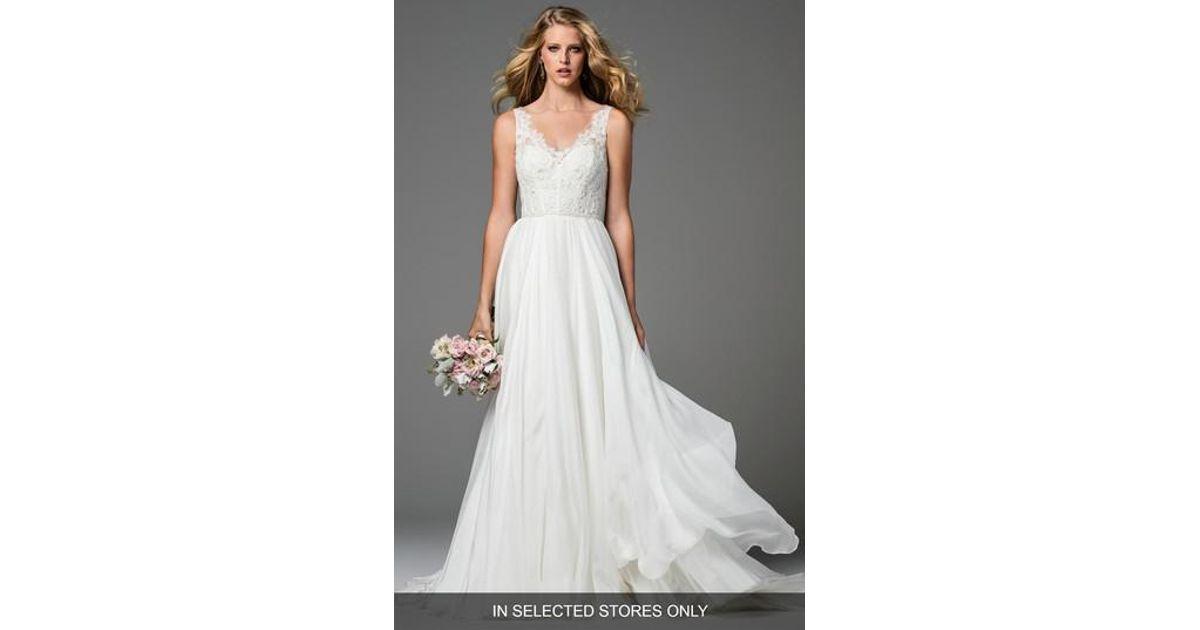 Lyst - Watters Stafford Silk Organza Gown