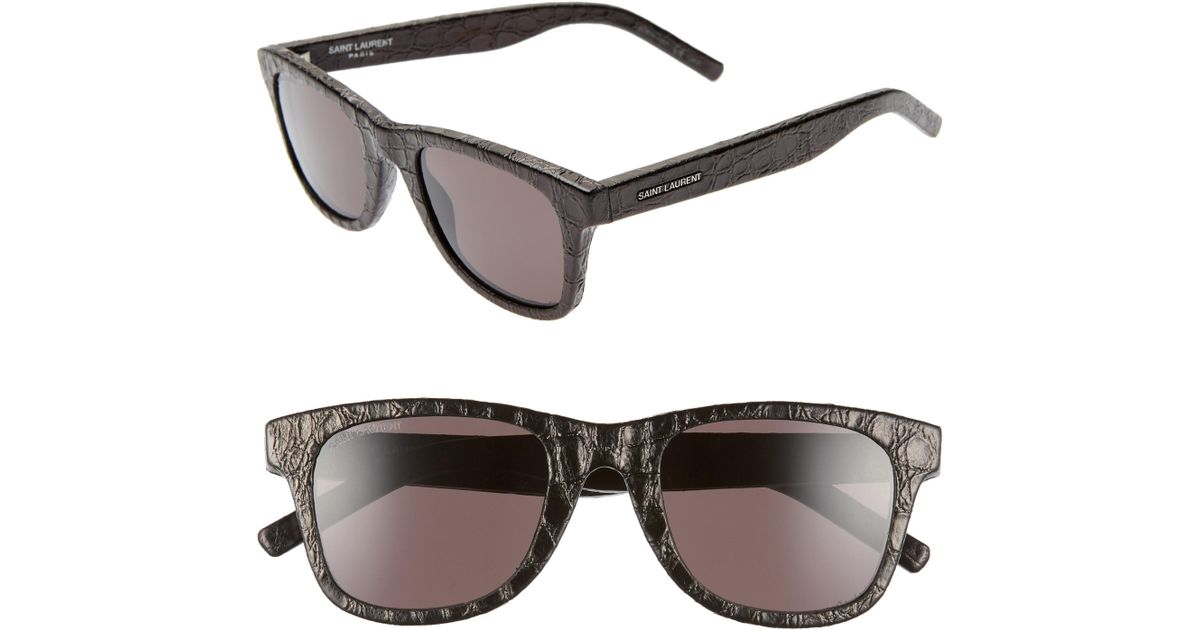 aa5dd17348 Lyst - Saint Laurent 50mm Leather Wrapped Flat Top Sunglasses -