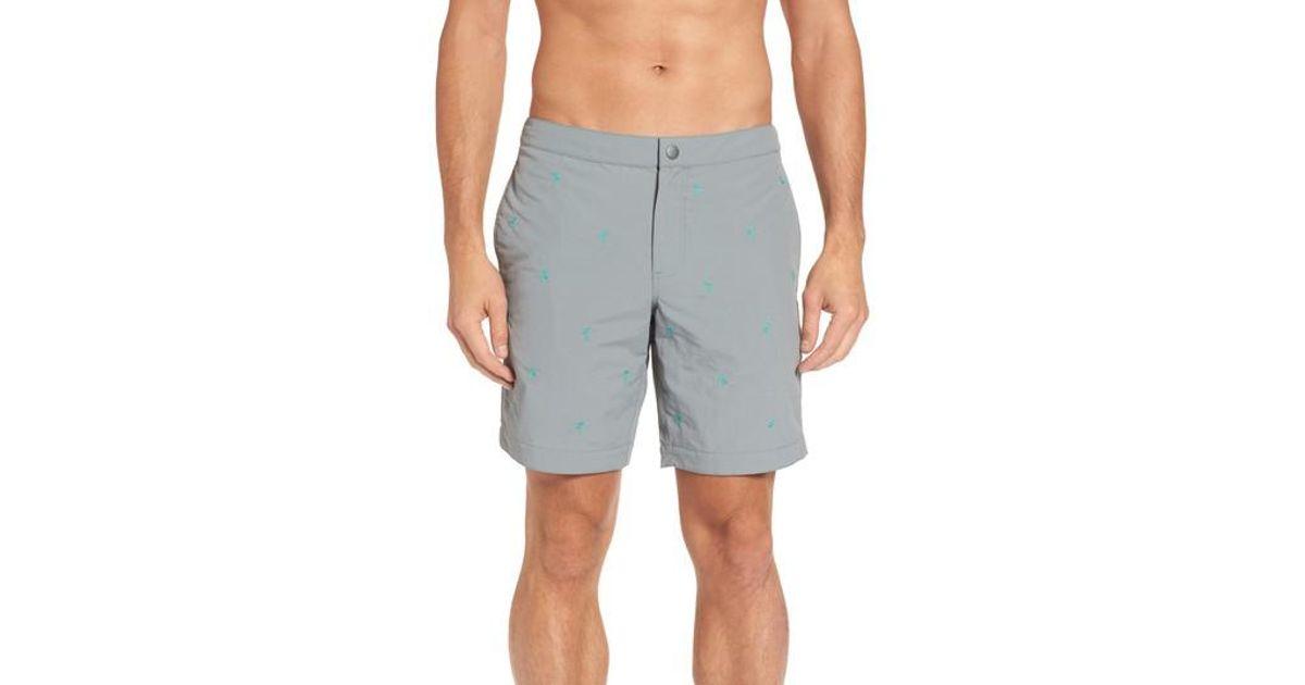 885ad10400e Lyst - Boto Aruba Embroidered Palm Swim Trunks in Gray for Men
