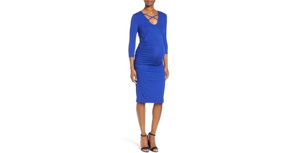 9f42865c4e8 Lyst - Isabella Oliver Gale Ruched Maternity Dress in Blue