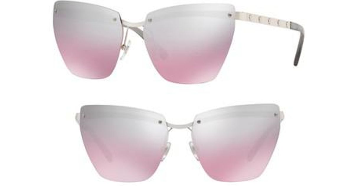 ed199669c2 Lyst - Versace Medusa 58mm Metal Cat Eye Sunglasses in Pink