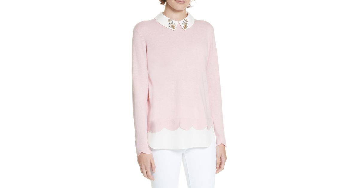 e4febb25a4e6b Lyst - Ted Baker Suzaine Layered Sweater in Pink