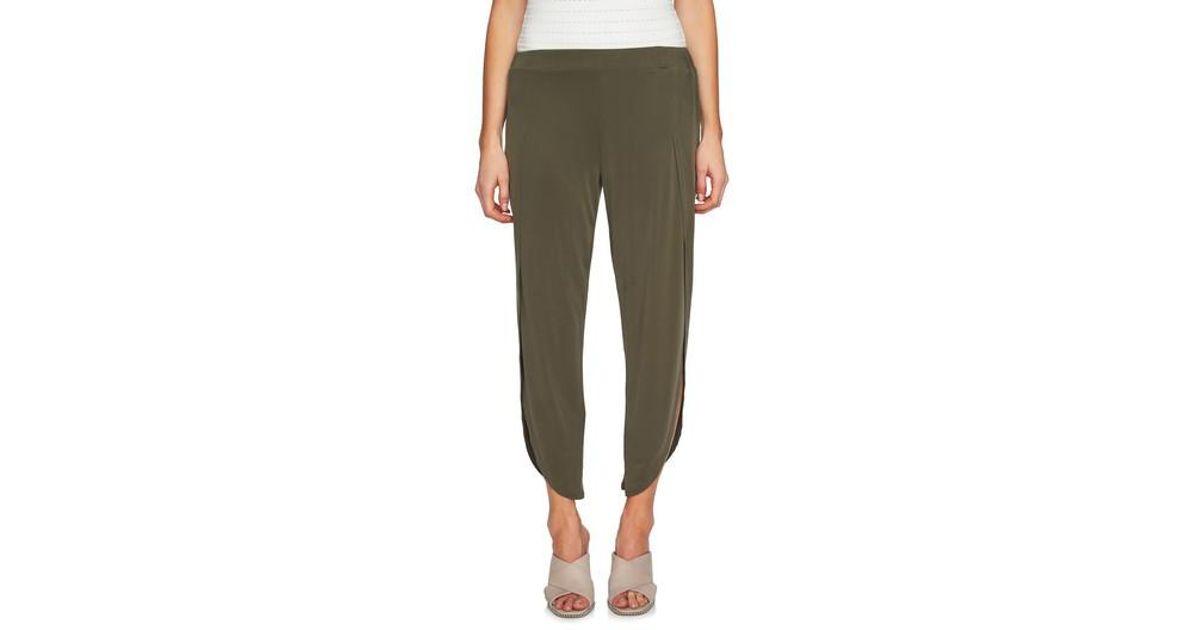 f010243cfa71 Lyst - 1.STATE High Waist Envelope Hem Pants in Green