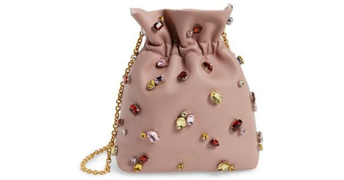 f5cdf6b6ece2 ... 2015 here 39a6f 01c31 cheap lyst mulberry mini lynton embellished  leather bucket bag in pink 88d5f 3a0ff ...