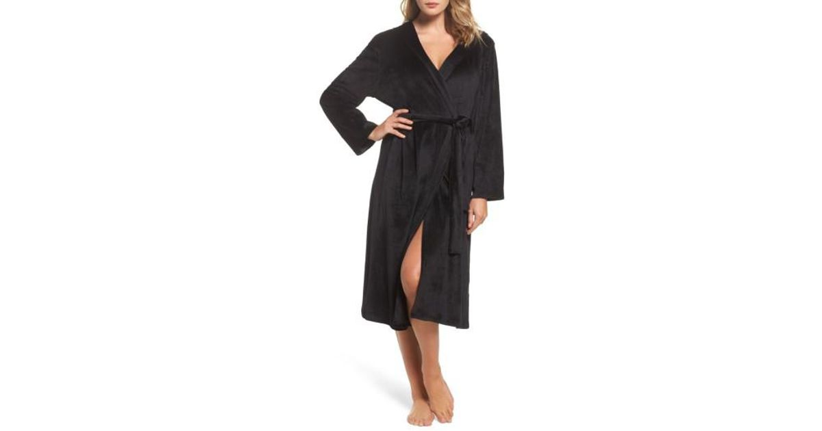 Lyst - Dkny Luxury Plush Hooded Robe in Black