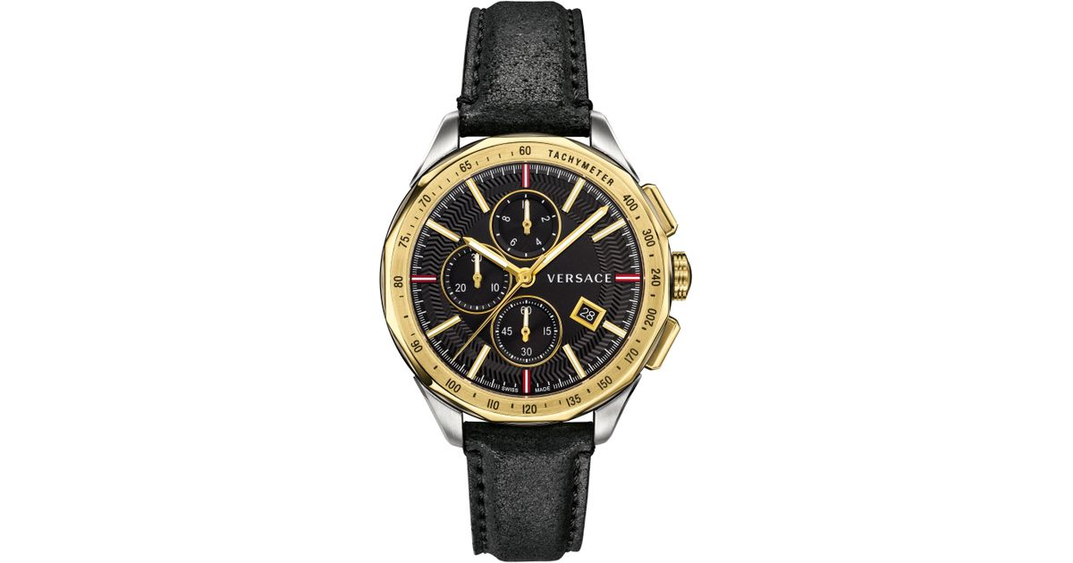 98f9ee4f1 Lyst - Versace Glaze Chronograph Leather Strap Watch in Metallic for Men