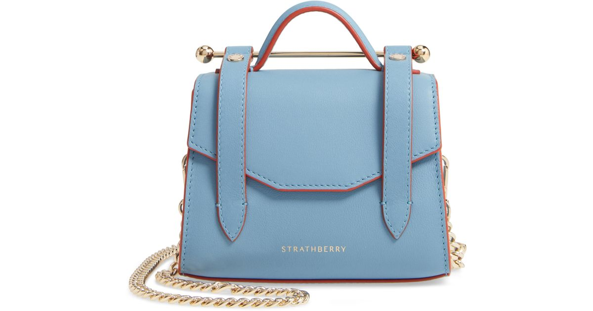 Strathberry Blue Micro Allegro Calfskin Leather Tote