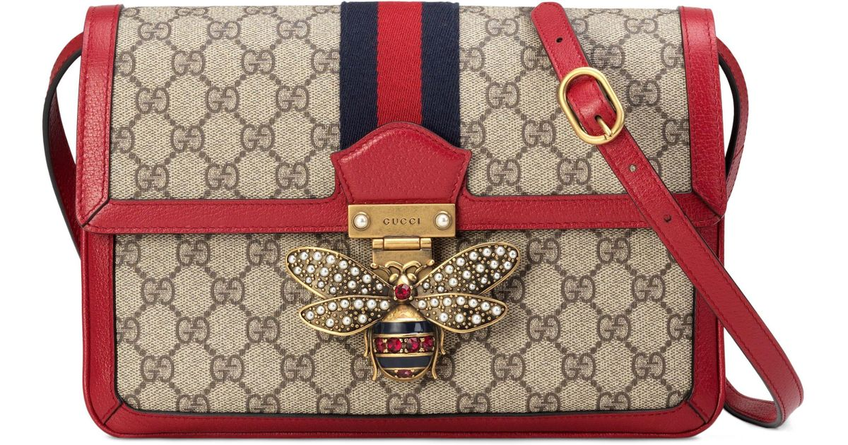 3353d8283e28 Gucci Queen Margaret Gg Supreme Small Crossbody Bag in Red - Lyst