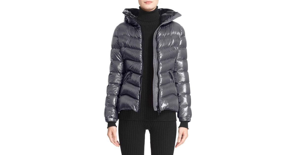 82812f455 Moncler - Black Anthia Water Resistant Shiny Nylon Hooded Down Puffer  Jacket - Lyst